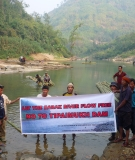 Local citizens gathered during the March 14, 2013 International Day of Action for Rivers on the Barak River in India to protest construction of the Tipaimukh Dam.