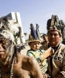 Indigenous people in vigil before the Supreme Court in Brasilia