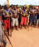 Indigenous protestors at Pimental coffer dam, Belo Monte dam site,