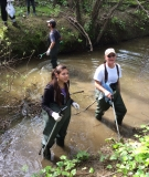 Wading in the creek with International Rivers