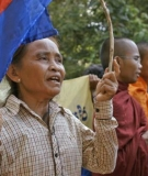 Protest against the Stung Cheay Areng Dam in Cambodia, which would flood protected indigenous lands