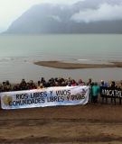 Rios Libres gathering for the 2018 Day of Action for Rivers in Batía Acantilada, Puerto Aysen, Patagonia, Chile .
