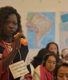 Sarah Kisita Mayala of DRC's AFECOJU speaks at the 2019 Women & Rivers Congress.