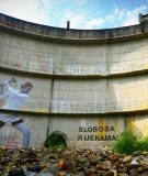 Idbar Dam with a new message on its face.