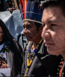 Munduruku leaders in Paris protesting at the 2019 World Hydropower Congress.