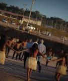 Munduruku women warriors dance at the Sao Manoel Dam site.