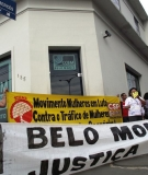 Women march in front of CCBM, the Belo Monte construction consortium, to demand an end to women trafficking and sexual violence.