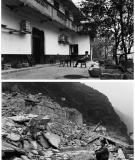 Carpenter in front of his home, before and after it was demolished