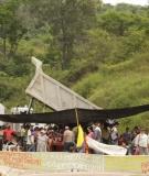 Protest at site of Hidrosogamoso on Colombia's Chicamocha River