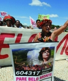 Sheila Juruna, who would be affected by Belo Monte Dam, led a protest in Brasilia last month.
