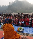 Villagers at the Thai/Burma border gather to bless the Salween River and oppose construction of large dams.