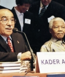 Nelson Mandela and Prof. Kader Asmal launch the World Commission on Dams final report in 2000.