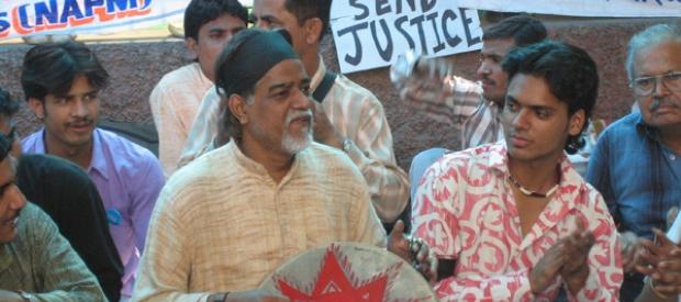 Narmada Bachao Andolan activists protest against the raising of the Sardar Sarovar Dam on the Narmada River.