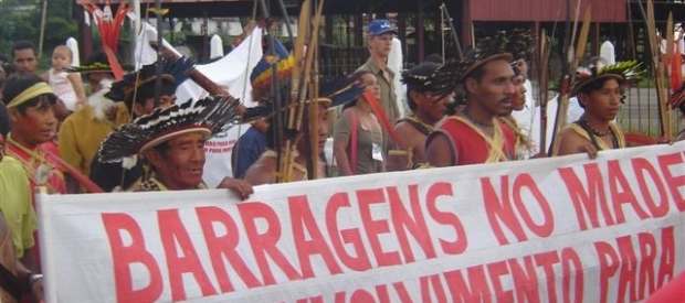 Protest against the construction of dams on the Madeira River, likely to be financed by Brazilian private banks, in the Brazilian Amazon.