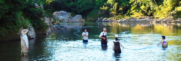Dr. Nathan Lujan and his colleagues set gill-nets in a lower channel of the Inambari River in the Andes.