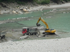 Mining for sand and gravel downstream of the Karcham Wangtoo Dam on the Sutlej River.