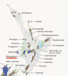 The National Parks and Conservation Areas on the North Island of New Zealand. Whanganui National Park is underlined in red.