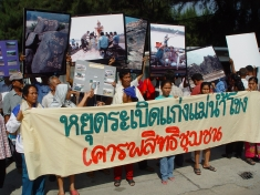 Thai villagers protest at Chinese Embassy in Bangkok to demand a halt to blasting rapids on the Mekong