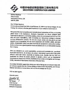 Sinohydro response to Civil Society (2009)