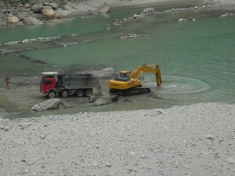 Riverbed mining downstream of the Karcham Wangtoo Dam on the Sutlej River.